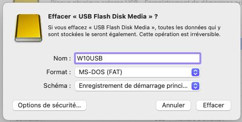 Formatage cle USB
